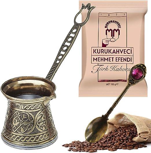 Cafetera turca de fundición y tallado, cafetera arábiga griega de cobre, cafetera para horno, para aquellos interesados en la cultura del café turco, juego de 3 250 ml (plata): Amazon.es: Hogar