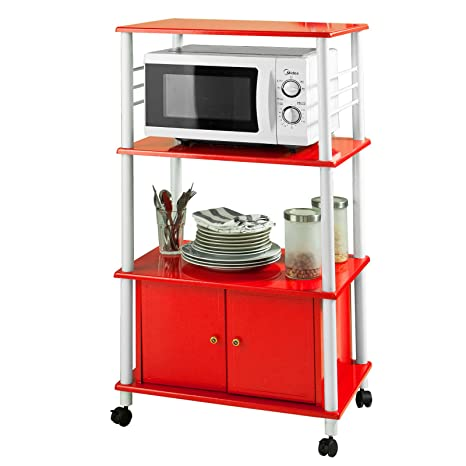 sobuy mensola per forno a microonde carrello da cucina armadietto cucina rosso
