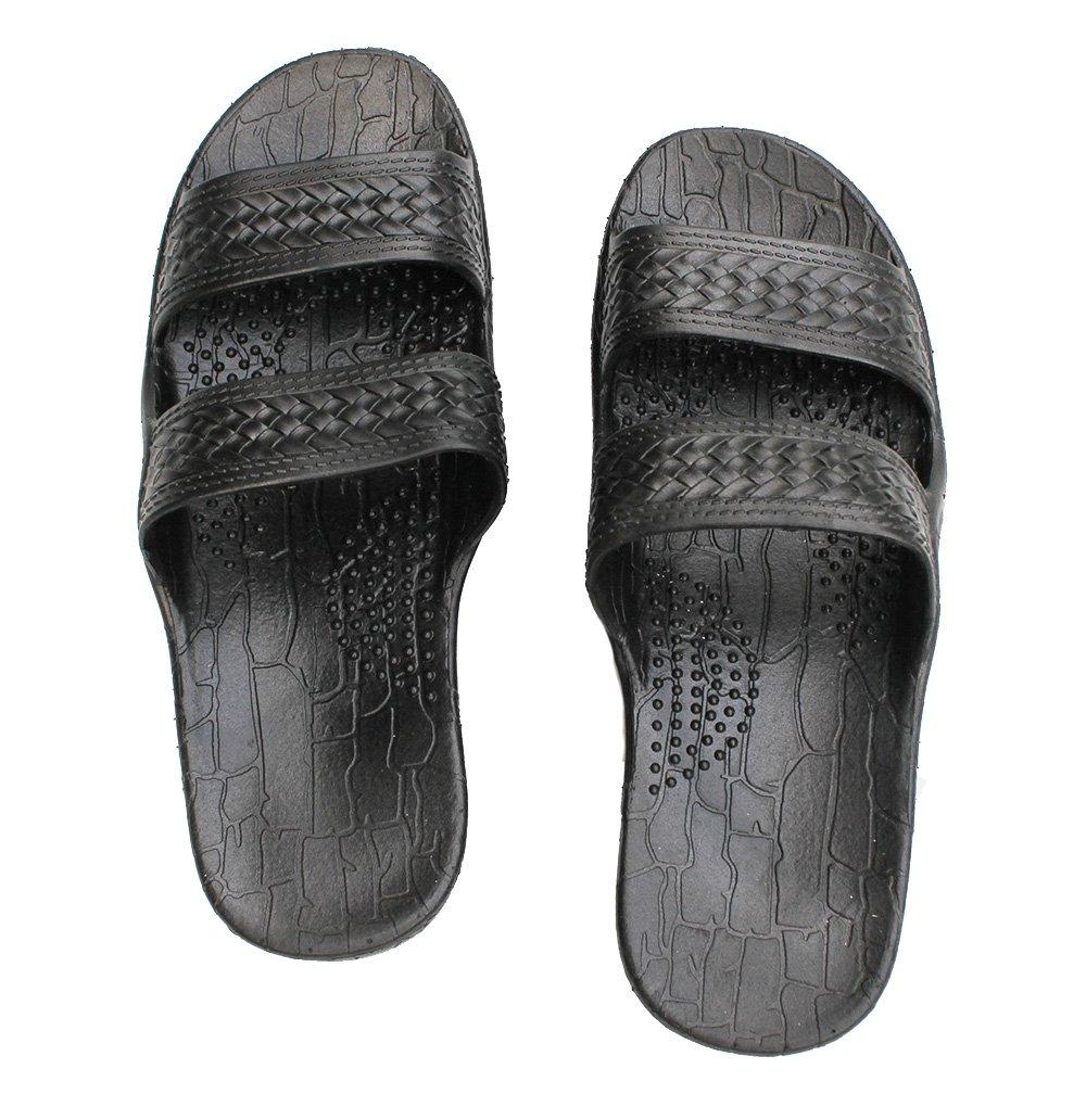 HawaiiImperial Sandals Hawaii Brown or Black Jesus sandal Slipper for Men Women and Teen Classic Style (11, Black)