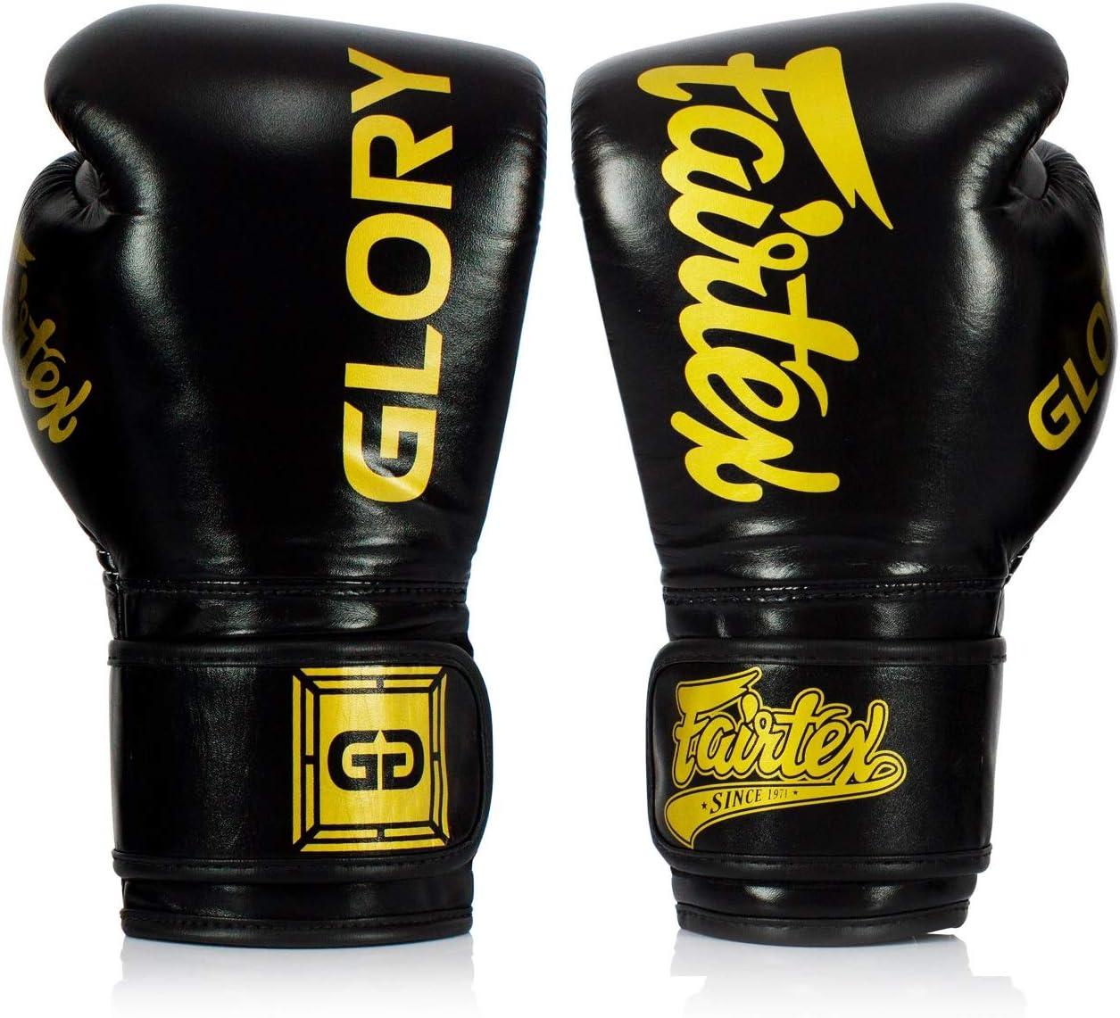 Fairtex X Glory Gants de Boxe en Cuir pour Kickboxing Muay Thai Fait Main en Tha/ïlande Blanc