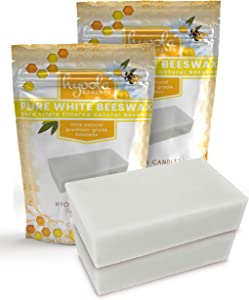 Hyoola White Beeswax Block- 100% Natural - Premium Cosmetic Grade - Pure Beeswax Bars - 2 Pound - Triple Filtered Easy Melt Bees Wax Sticks