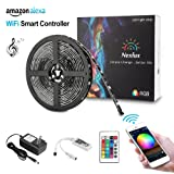 Amazon Price History for:Led light strip, Nexlux Wifi Wireless Smart Phone Controlled Strip Light Kit 16.4ft 150leds 5050 Waterproof IP65 LED Lights ,Working with Android and IOS System,Alexa