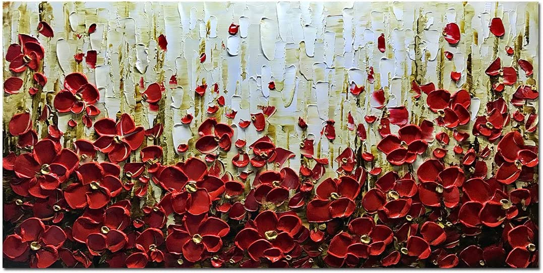 Metuu Modern Canvas Paintings, Texture Palette Knife Red Flowers Paintings Modern Home Decor Wall Art Painting Colorful 3D Flowers Wood Inside Framed Ready to hang 24x48inch