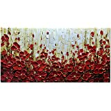 Modern Canvas Paintings, Texture Palette Knife Red Flowers Paintings Modern Home Decor Wall Art Painting Colorful 3D Flowers