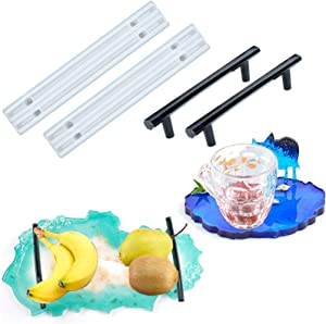 Ujuuu 2 Set(4pcs) Epoxy Tray Handle DIY Silicone Cabinet Cupboard Smooth Flexible Fruit Tray Handle Mould for DIY Coaster Tray Handles Craft Making Home Decoration