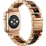 Apple Watch バンド/Apple Watch 5 バンド,Wearlizer アップルウォッチ iwatch,apple watch series 4/3/2/1に対応 交換ベルト アップルウォッチ 4 apple watch 4 バンド iwatch ステンレス バンド 軽量 調整工具付 全6色 (ローズゴルード+アンバー, 38mm)