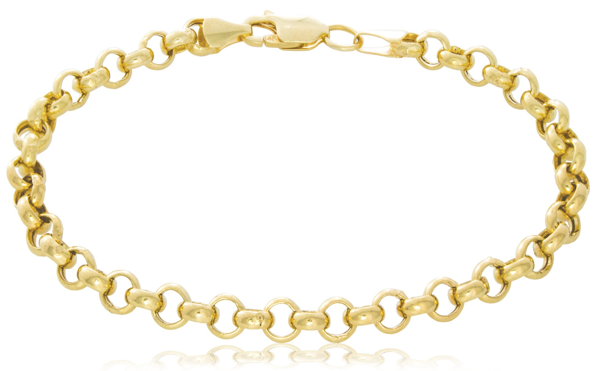 14K Yellow Gold Rolo Chain Bracelet | 5mm Wide Hollow Link | Length 7'' | 4.4g