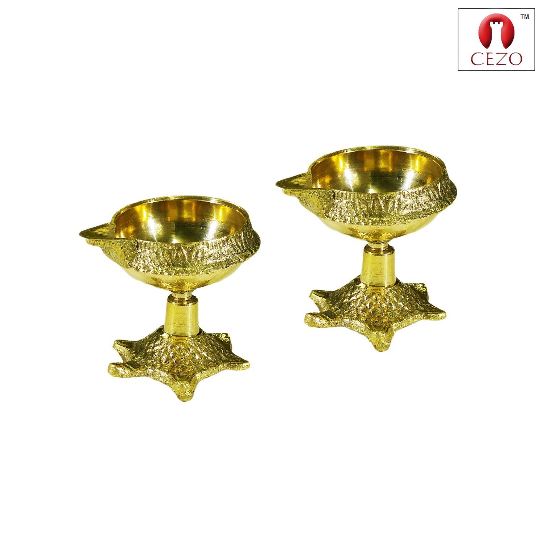 CEZO Christmas Decoration Gifts Handmade Indian Brass Oil Lamp - Diya Lamp Engraved Design Diya - Brass Diya Kuber on Tortoise (Pack of 2)