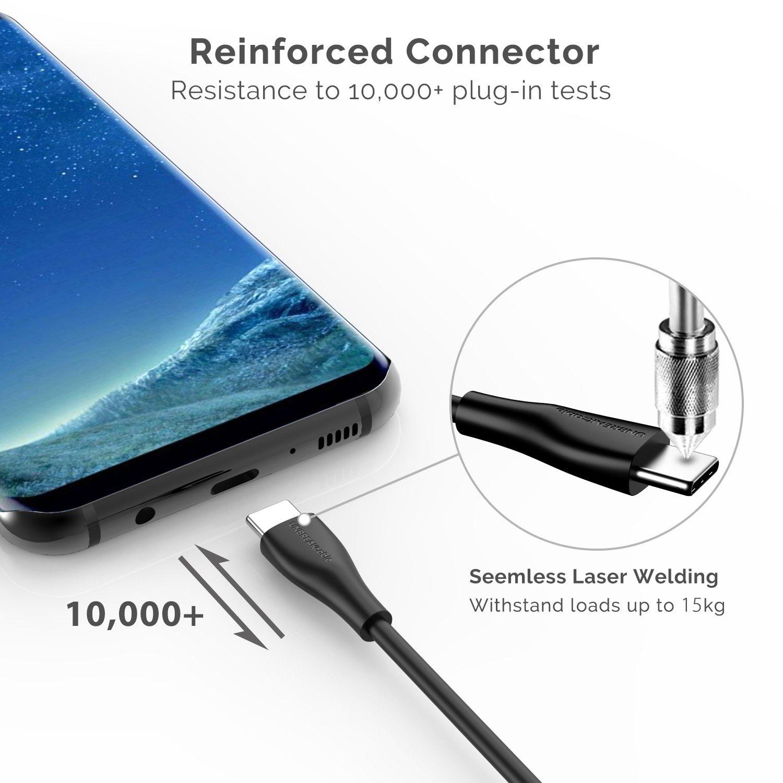 Google Pixel OnePlus Sony Xperia XZ 1M Negro UNBREAKcable Cable USB Tipo C 3.0 de Carga y Sincronizaci/ón Cable USB C Carga R/ápida Compatible con Samsung Galaxy S9//S8 Huawei P10//P9 Macbook