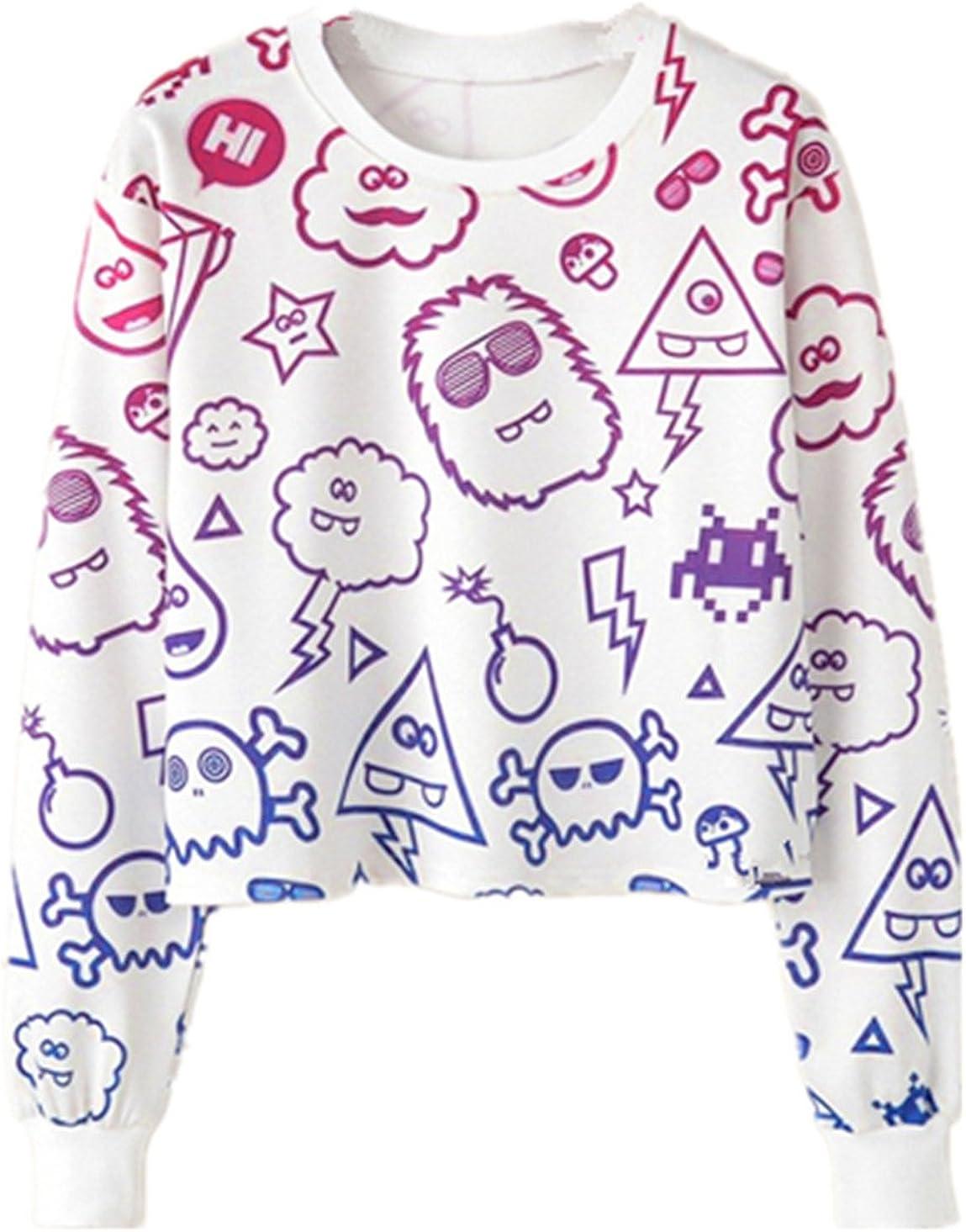 YICHUN Women Girl Short Top T-Shirt Thin Sweater Sweatshirts Tunic Blouse Casual