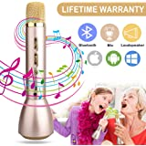 Microphone for Kids,Wireless Karaoke Microphones with Bluetooth Speaker Portable Handheld Karaoke Mic Machine for KTV Home Birthday Party Singing Music Playing Support iPhone Smartphone iOS Android PC