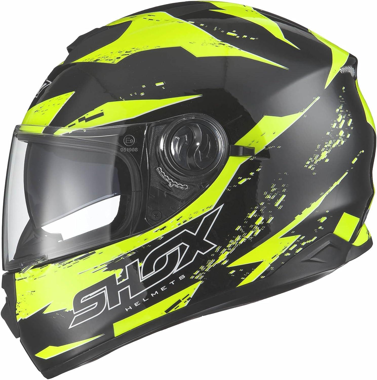 Shox Assault Tracer Integral Motorrad Helm S Wei/ß//Schwarz//Rot