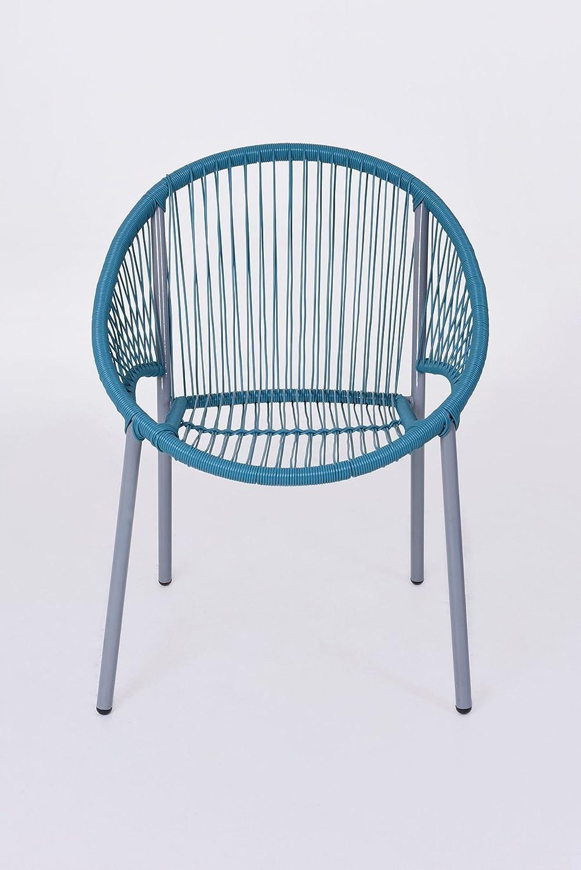 VIVANNO 2er Set Stuhl Sessel Gartenmöbel Livorno Kunststoff, Türkis ...