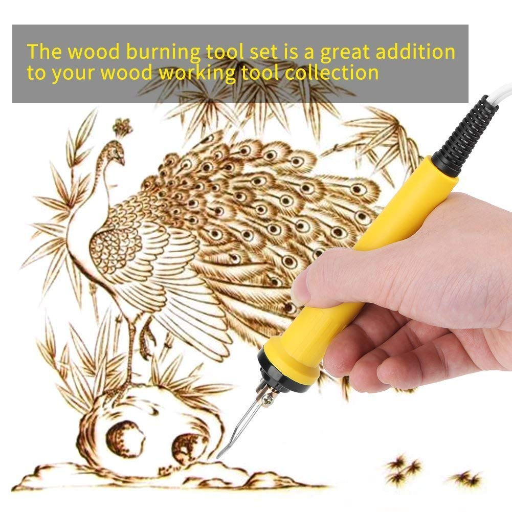 220V 100W Professional Pyrography Machine kit Craft Wood Burning Carving with 2pcs Pyrography Pen,30pcs Pyrography Tips Wood Burning Pyrography Pen Kit