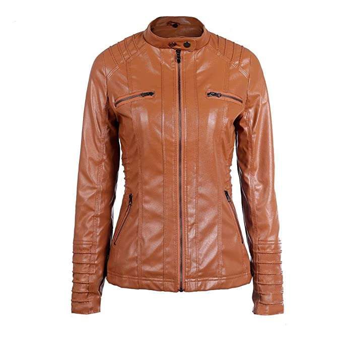 Amazon.com: AOJIAN Women Jacket Long Sleeve Outwear Faux Leather Removable Hooded Zipper Solid Plus Size Coat Brown: Clothing