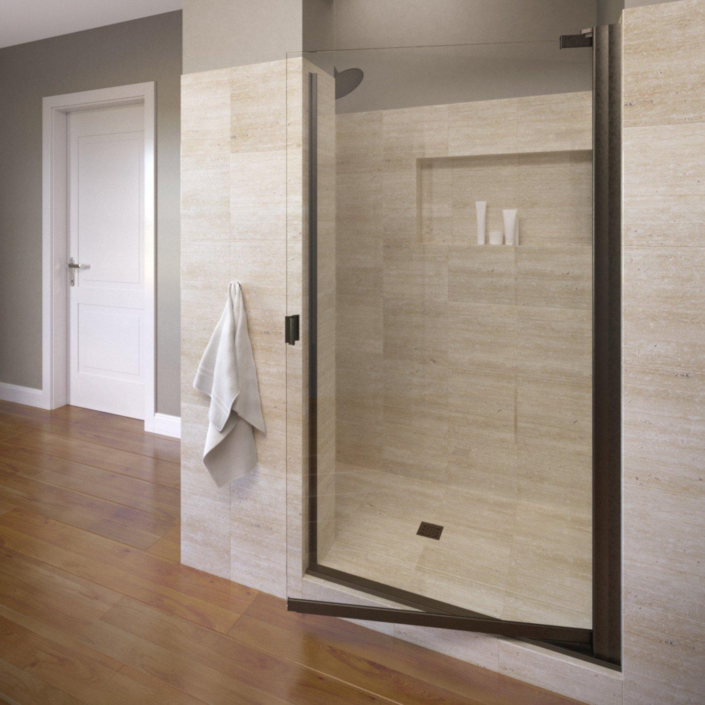 Oil Rubbed Bronze Finish Clear Glass width Basco Armon 32.75 to 34.25 in Semi-Frameless Pivot Shower Door