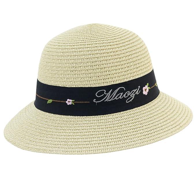 e17367c3194d51 ACVIP Women's Flower Embroidered Wide Brim Straw Cloche Sun Hat (Beige):  Amazon.co.uk: Clothing