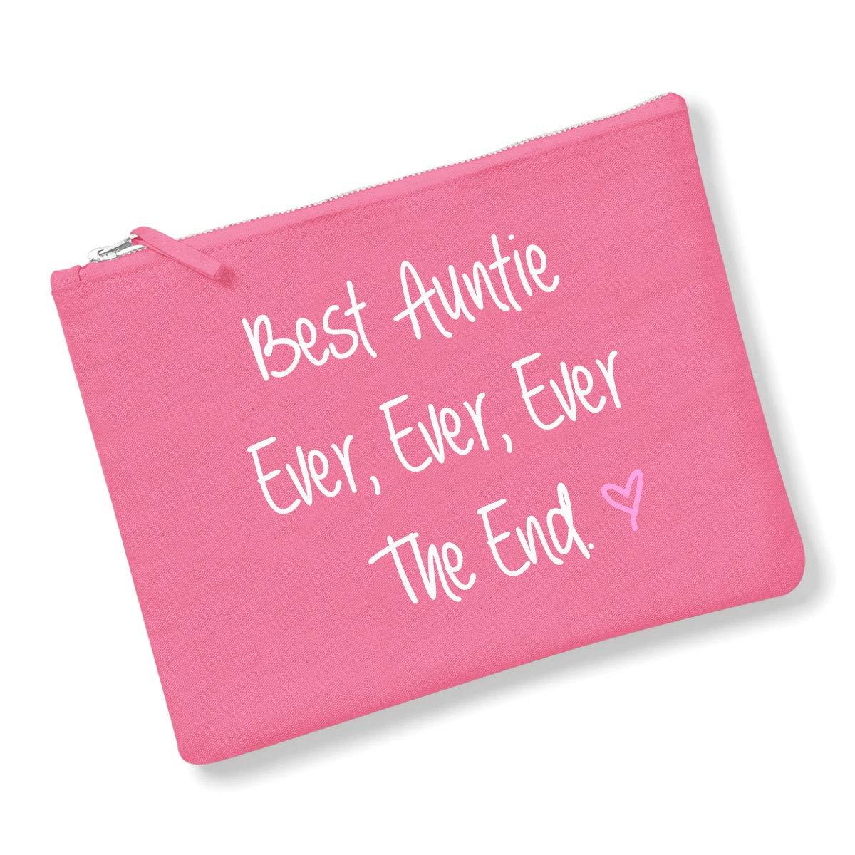 Best Auntie jamais jamais jamais The End Trousse /à maquillage Bleu marine Gris ou rose cadeau Id/ée de cadeau Trousse de toilette f/ête des m/ères anniversaire No/ël rose rose