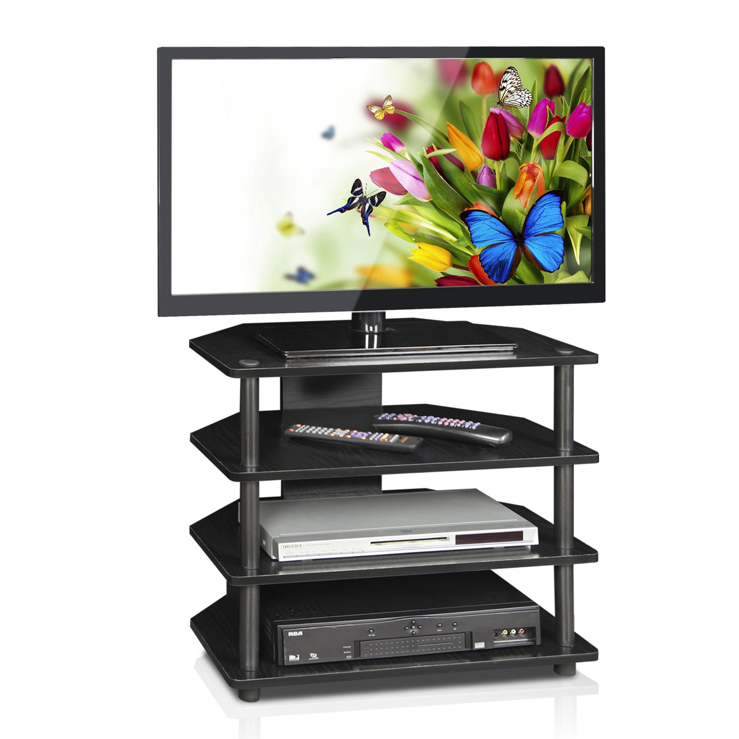 Game console shelf tall tv stand corner entertainment center wooden display set