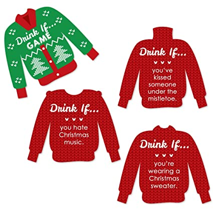 Amazoncom Big Dot Of Happiness Drink If Game Ugly Sweater