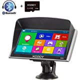 Xgody 16GB (8GB ROM + 8GB TF Card) 826BT Car Truck GPS Navigation System 7 Inch Capacitive Touchscreen SAT NAV Navigator Lifetime Maps Update Speed Limit Displays with Sunshade (826BT+TF)
