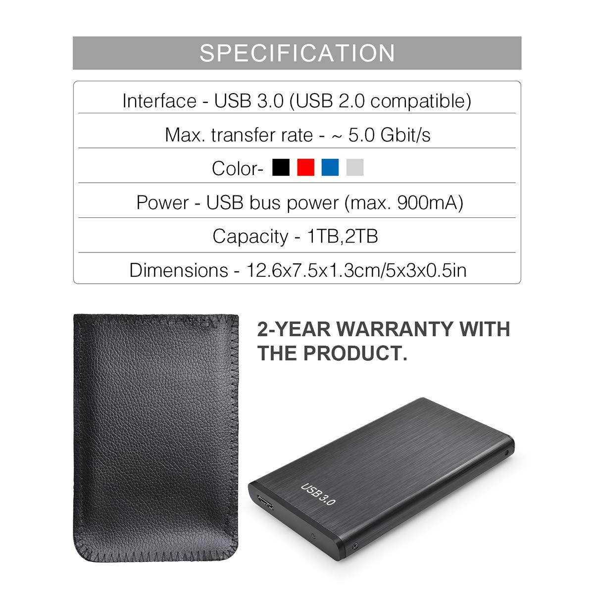 MacBook PS4 Chromebook 2TB,Negro Disco Duro Externo 2 TB Mac,Xbox Disco Duro Externo USB3.0 para PC