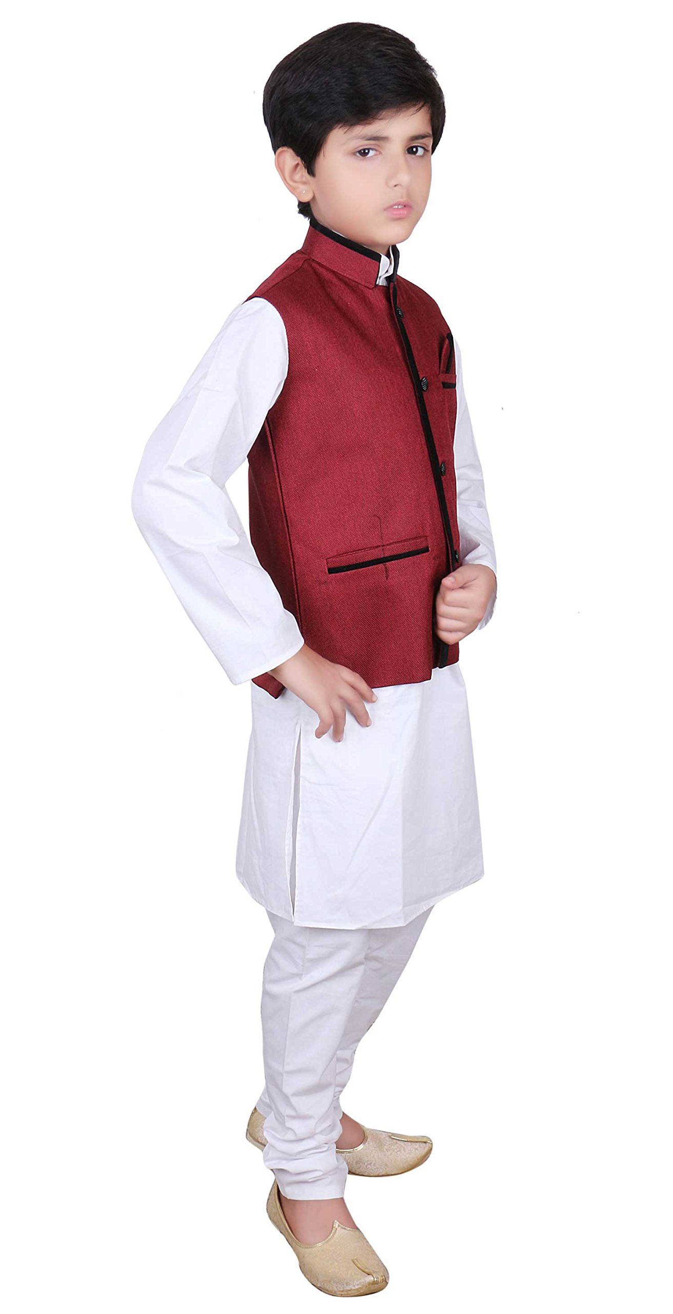 Boys Indian Modi Nehru Gandhi Style Maroon only Waistcoats in Jute for Bollywood party 008 (12 (12 yrs), Maroon)