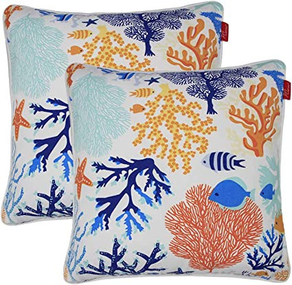 Amazon Com Pcinfuns Outdoor Decorative Pillows With Insert Fish Throw Pillow Covers All Weather Patio Cushions 18 X 18 Set Of 2 Garden Outdoor