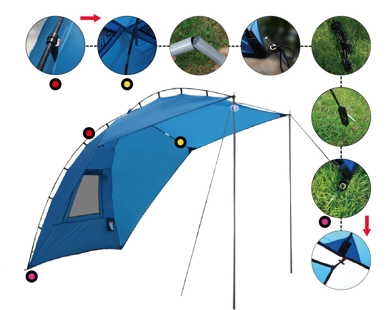 Leader Accessories Easy Set Up Camping SUV Tent/Awning/Canopy/ Sun Shelter Tailgate Tent Beach Tent Suitable For SUV Mini Van Campers RVs Waterproof With Adjustable Sunwall (78.7''x59'') by Leader Accessories (Image #7)