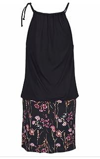 WOZNLOYE Damen Sommer Kurz Kleid Druck Stitching Freizeit Kleider  Strandkleider Tunikakleid Fashion Neckholder Elastisch Taille Minikleid 072c01a097