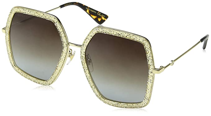 5c66d308bc877 Image Unavailable. Image not available for. Color  Gucci GG0106S 005 Gold GG0106S  Square Sunglasses ...