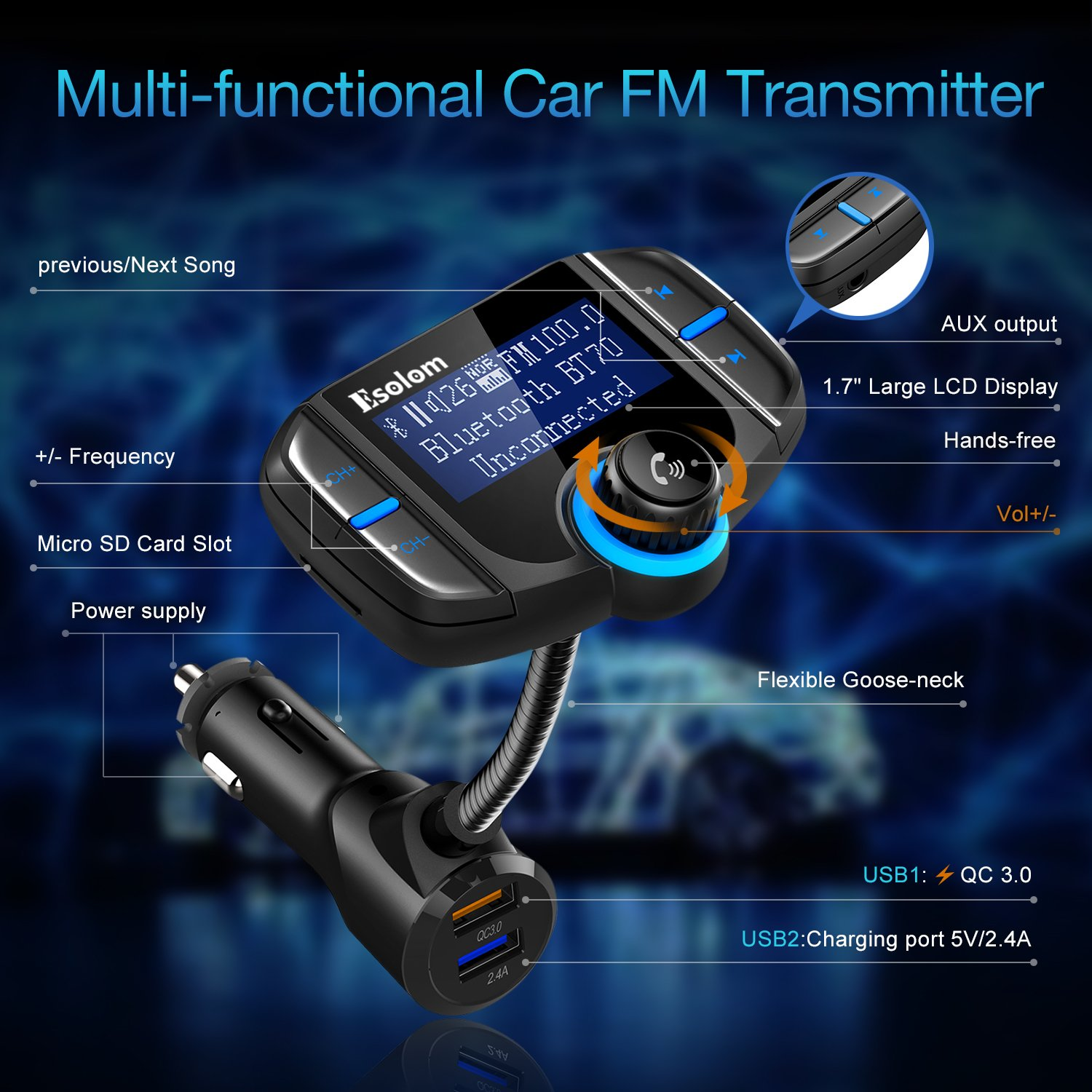 """Bluetooth FM Transmitter, ESOLOM Wireless Car Stereo Radio Adapter Receiver, Hands-free Calling Car Kit with 1.7"""" Display, QC3.0 & Smart 2.4A Dual USB Ports, Support TF Card, AUX Input/Output by ESOLOM (Image #5)"""