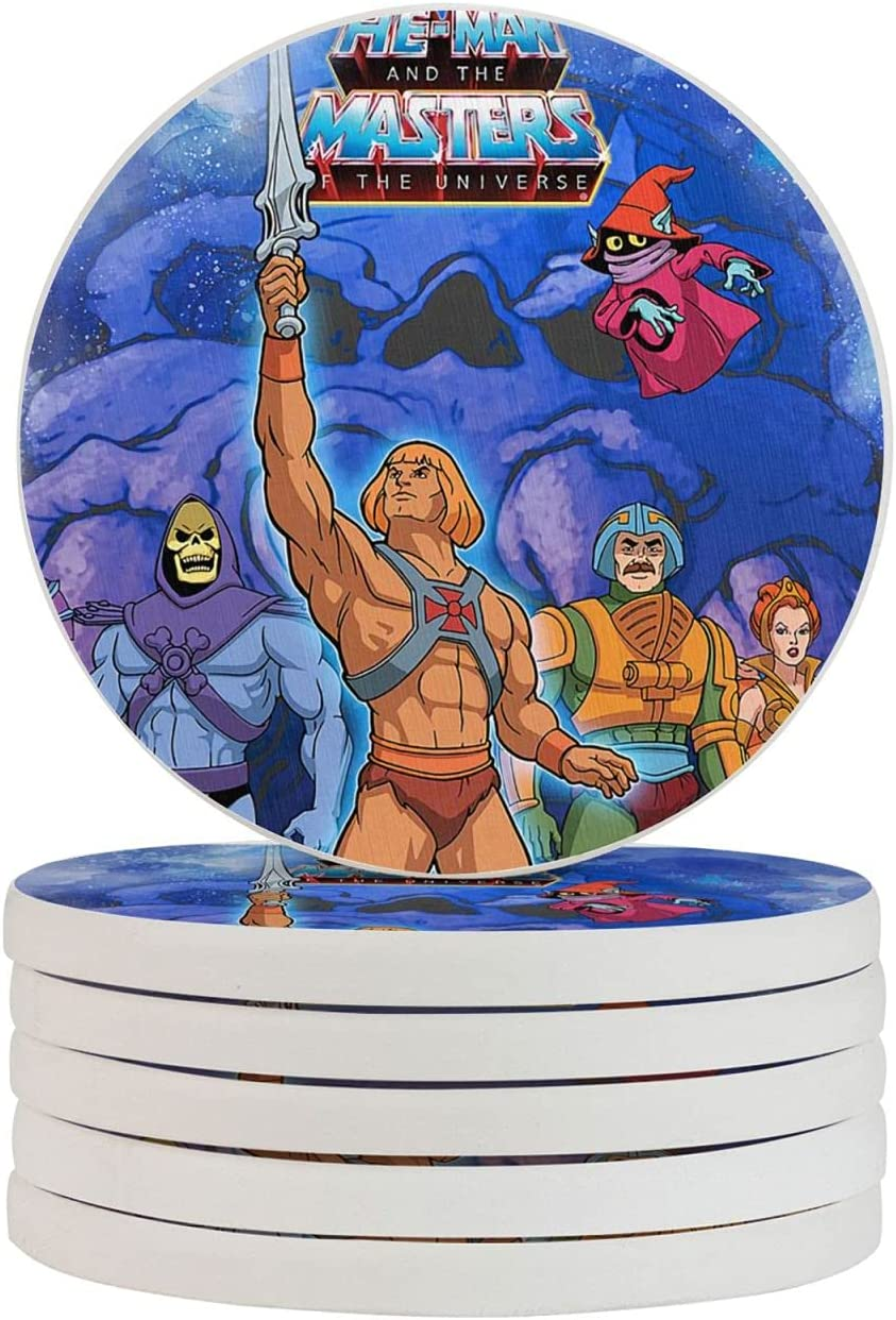 He-Man Classic Cartoon Funny Coasters, Multi-Purpose Diatomite Coasters, Protect Furniture from Water Marks Scratch and Damage(1pcs-6pcs)