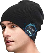 SMINIKER Bluetooth Beanie Hat V5.0 Stereo Unisex Skull Knit Cap Wireless Winter Knit Hats Running Headphones Cap Music Beanie