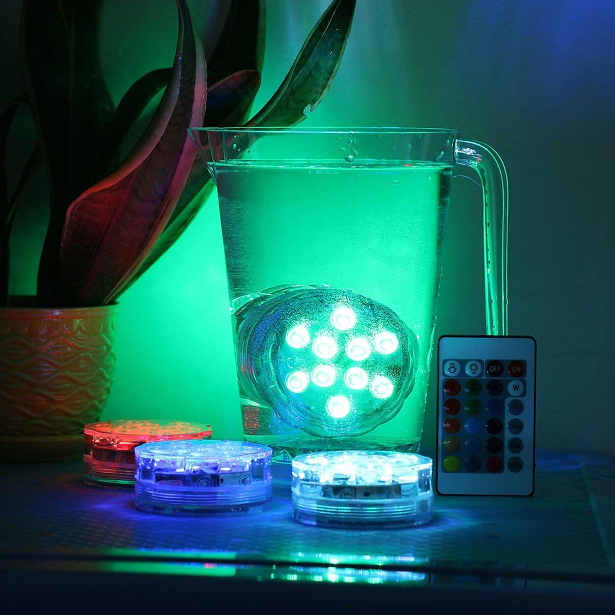 Lorenlli Luz de Piscina con Control Remoto Bombilla Sumergible LED RGB Bombilla LED Durable L/ámpara de Noche subacu/ática port/átil