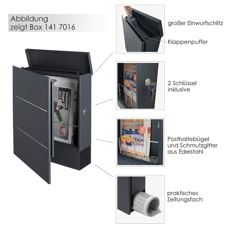 Briefkasten mit Zeitungsfach inkl MOCAVI Box 141 Postkasten gro/ß modern Wandbriefkasten ral 7016 2 Hausnummern anthrazit Edelstahl