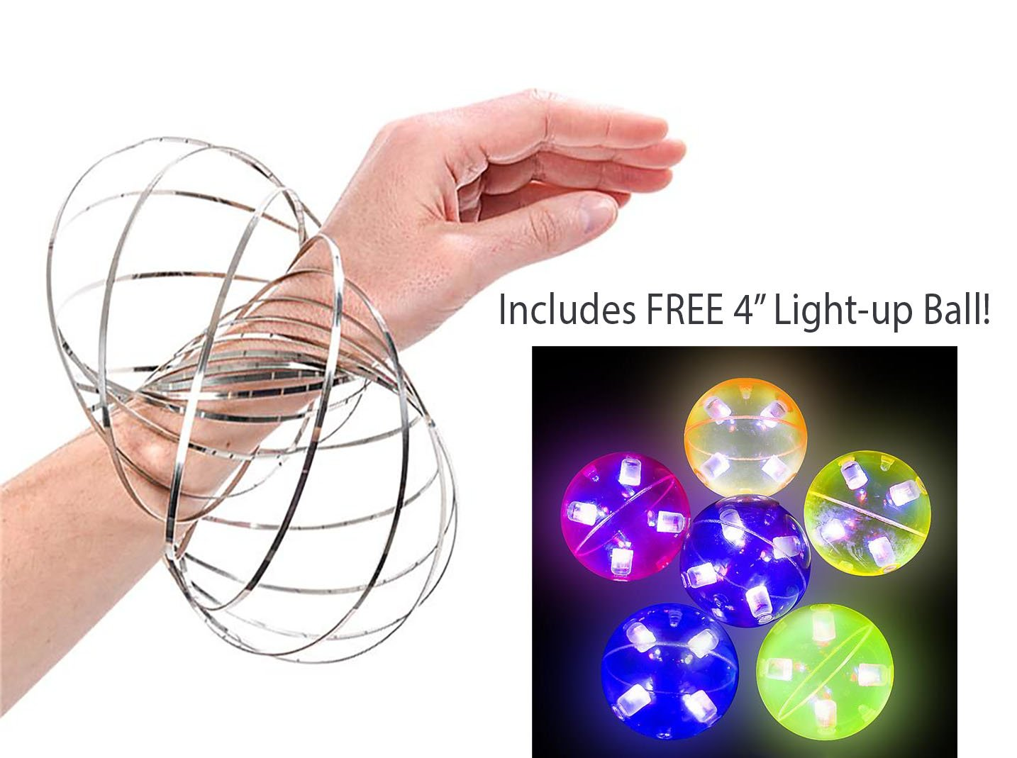 Bottles N Bags Incredible Spiral Flow Ring Kinetic Spring Toy Bracelet in Stainless Silver - Science and Educational Fun for Kids and Adults Alike - Plus FREE 4'' Light-Up High Bounce Ball