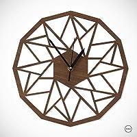 Reloj Amazonas Nogal -Reloj de pared, decoración interior - Madera de nogal -Reloj de Madera geometrico 30 cm