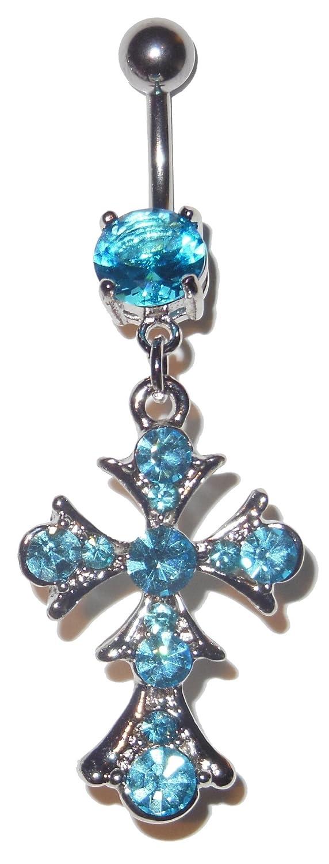 3//8 Vintage Style Cross Dangle Belly Navel Ring 14 Gauge