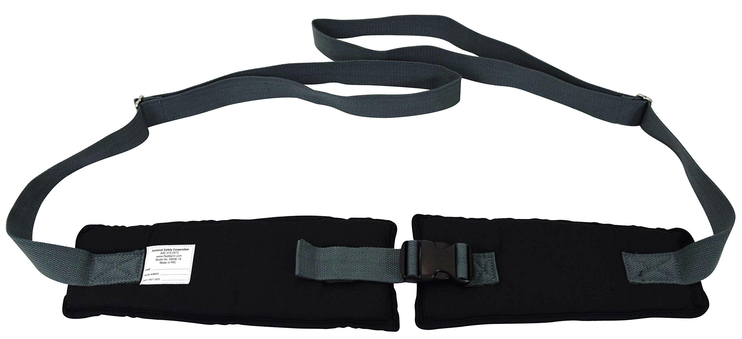 Secure SWSB-1 Soft Padded Wheelchair Positioning Belt with Easy Release Buckle, Black/Gray