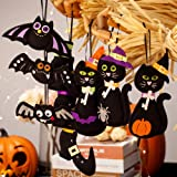 S-DEAL Halloween Felt Hanging Ornaments Cute Party Favor Decoration Set of 9 Black Cat, Bats and Witch Boot