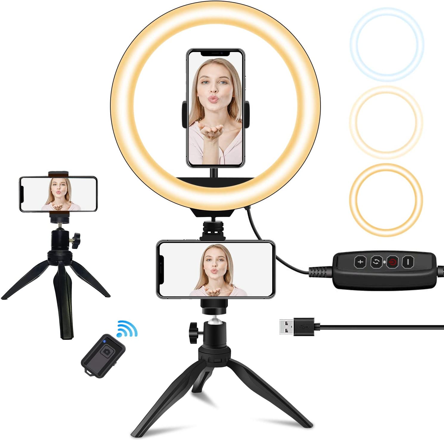 """10"""" LED Ring Light with Stand and Phone Holder, Sumcoo Dimmable Desk Selfie Ring Light for Makeup, Live Stream & YouTube Video, 3 Light Modes & 10 Brightness Level for iPhone/Android"""