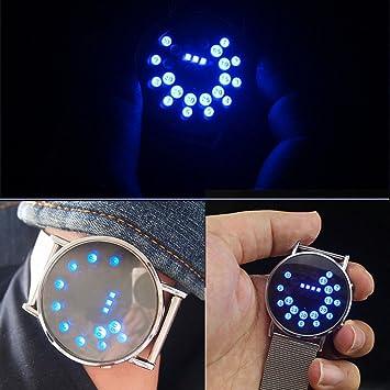 blueuk 2015 luminoso tira círculo Bola Reloj de Espejo de acero personalizado relojes LED electrónico reloj