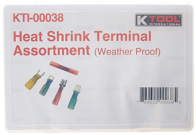 K-Tool International KTI-00038 Large Shrink Tube Terminal Kit 120 Piece