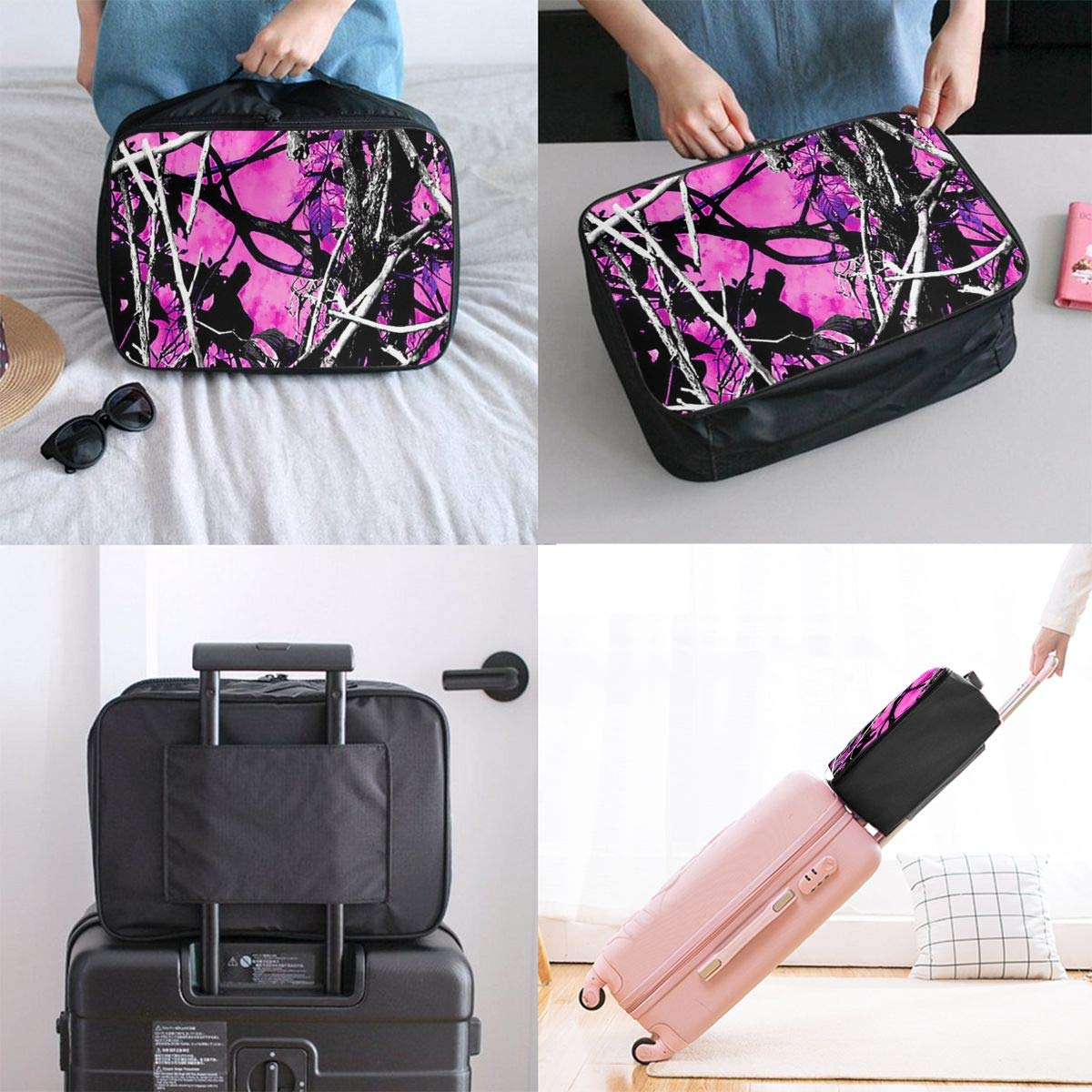 Lightweight Large Capacity Duffel Portable Luggage Bag Pink Camo Travel Waterproof Foldable Storage Carry Tote Bag
