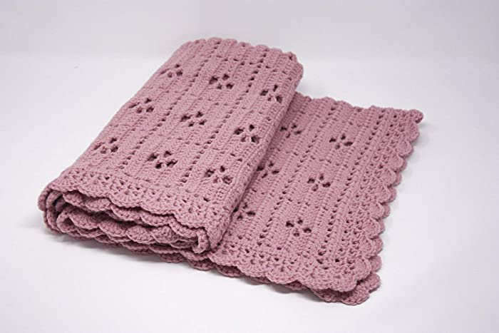 Crochet Dusky Pink Baby Blanket Call The Midwife Pattern Handmade