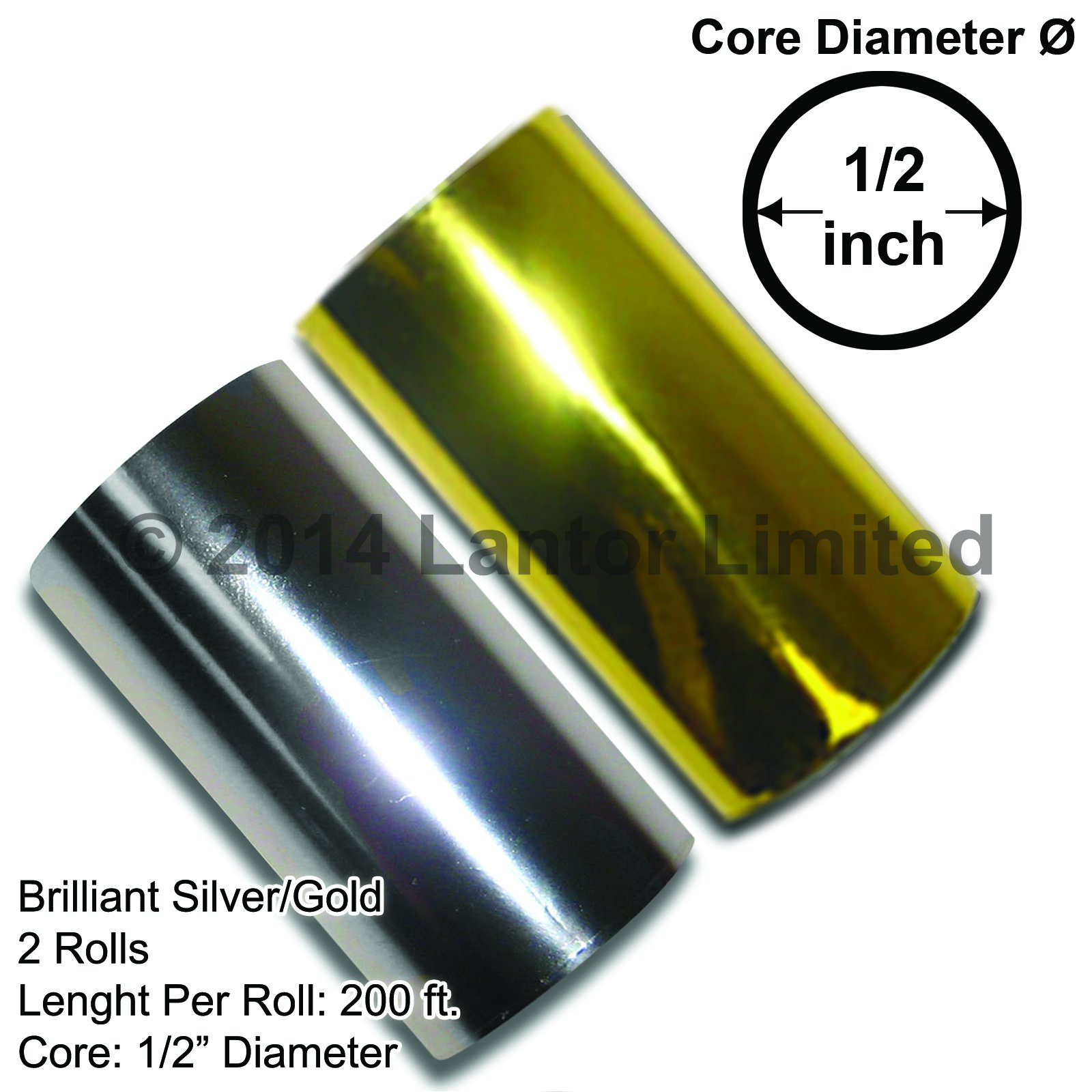 3'' 400ft 2 x 200 Ft Rolls 1 Gold and 1 silver KINGSLEY HOWARDBW88-100E200E by Lantor