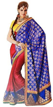 ff8d1e13e7 Amazon.com: Trendy Exclusive Designer Sari Blue Zari Saree Designer Dress  Indian Outfit: Clothing