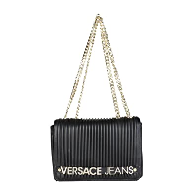 Versace Jeans Logo Black Quilted Shoulder Bag Black Leather  Amazon ... f7a14a92a28d7