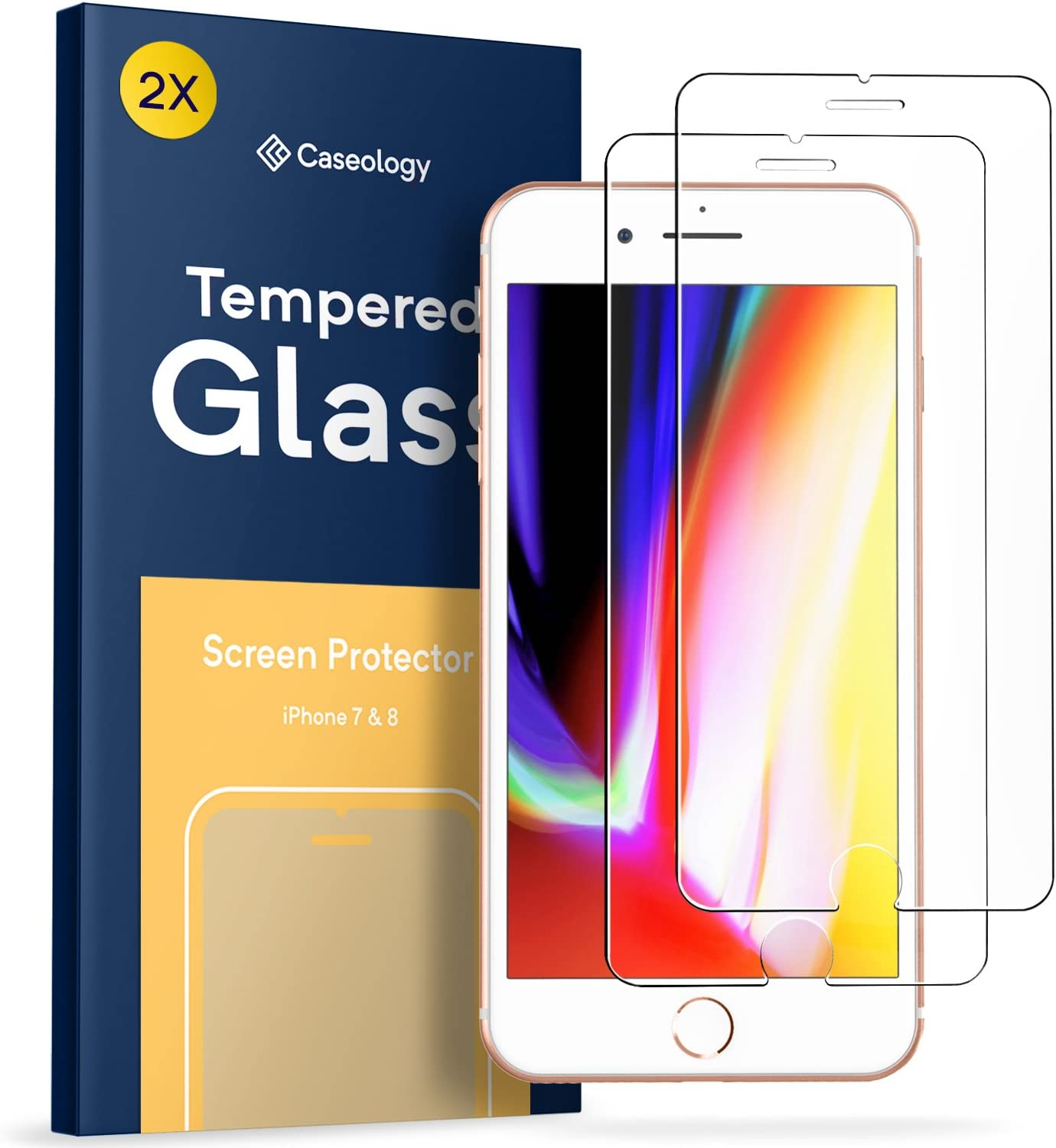 Caseology Tempered Glass for Apple iPhone 7 / 8 Screen Protector (2017) - 2 Pack